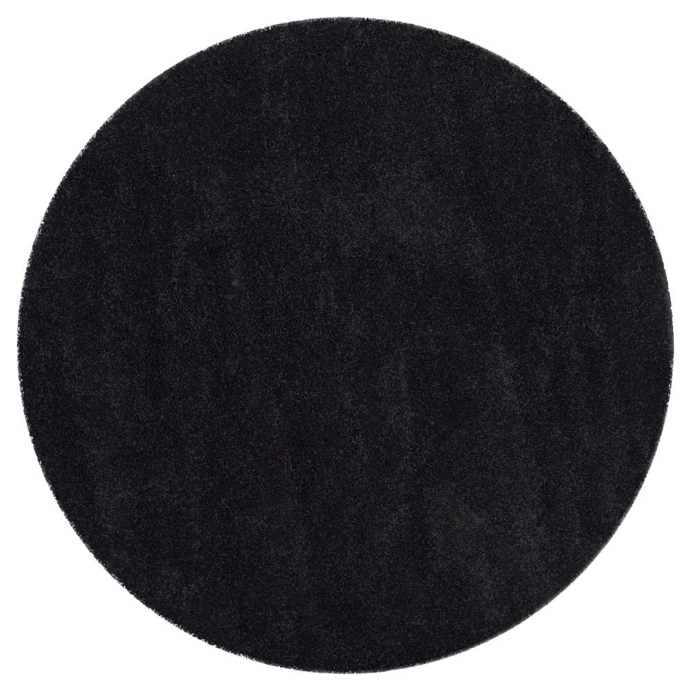 Black Solid Shag/Flokati Loomed Round Area Rug - (7' Round) - Safavieh