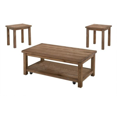 Nicki 3-Piece Solid Wood Living Room Coffee Set in Driftwood - Best Master Furniture