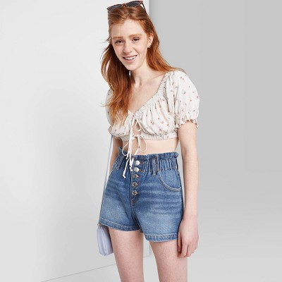 Women's High-Rise Button-Front Paperbag Waist Jean Shorts - Wild Fable™