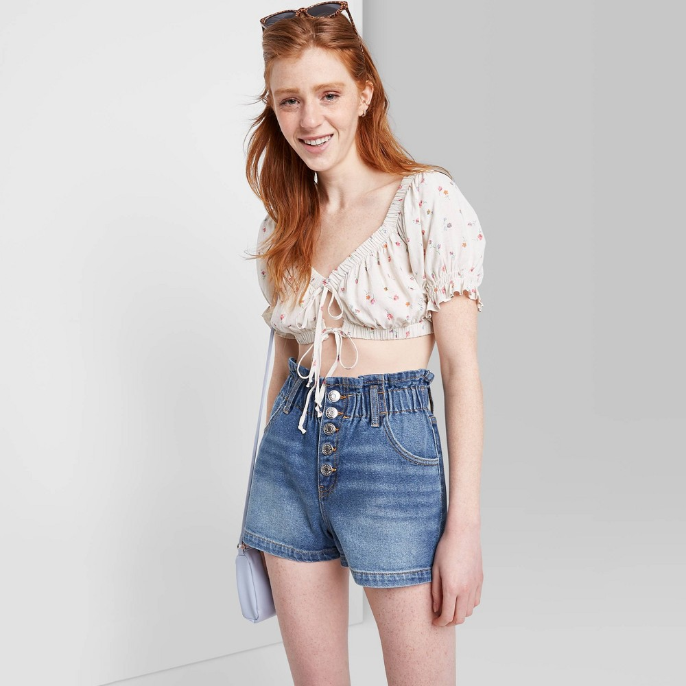 Women 39 S High Rise Button Front Paperbag Waist Jean Shorts Wild Fable 8482 Medium Wash 00