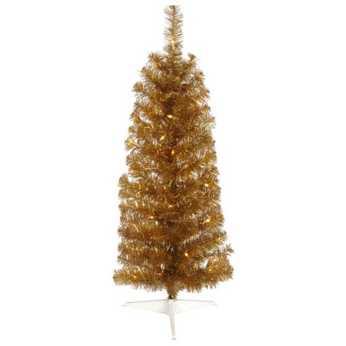 24f546816aa Vickerman 4.5  Prelit Artificial Christmas Tree Antique Gold Tinsel Pencil  - Clear Lights   Target