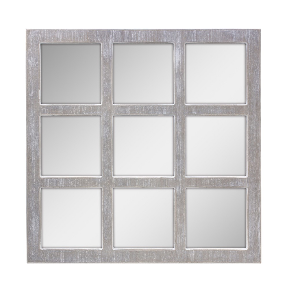 Image of 9 Panel Window Pane Mirror Gray 24 x24 - Stonebriar Collection