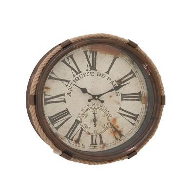 "17"" Coastal Iron Antiquitie De Paris Roped Wall Clock - Olivia & May"