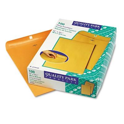 Quality Park Clasp Envelope 12 x 15 1/2 28lb Brown Kraft 100/Box 37910