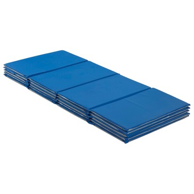 ECR4Kids Value 4-Fold Rest Mat, 5/8in Thick, Rest Time Sleeping Mat for Toddlers, 5-Pack - Blue/Grey