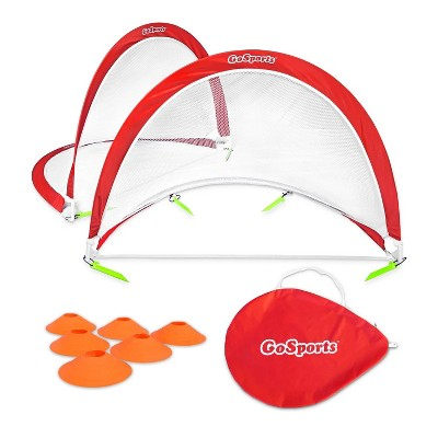 GoSports Portable Pop Up Soccer Goals ,2.5 Feet Wide, Set of 2 Nets with Agility Training Cones and Carrying Case for Backyard, Kids, and Adults,