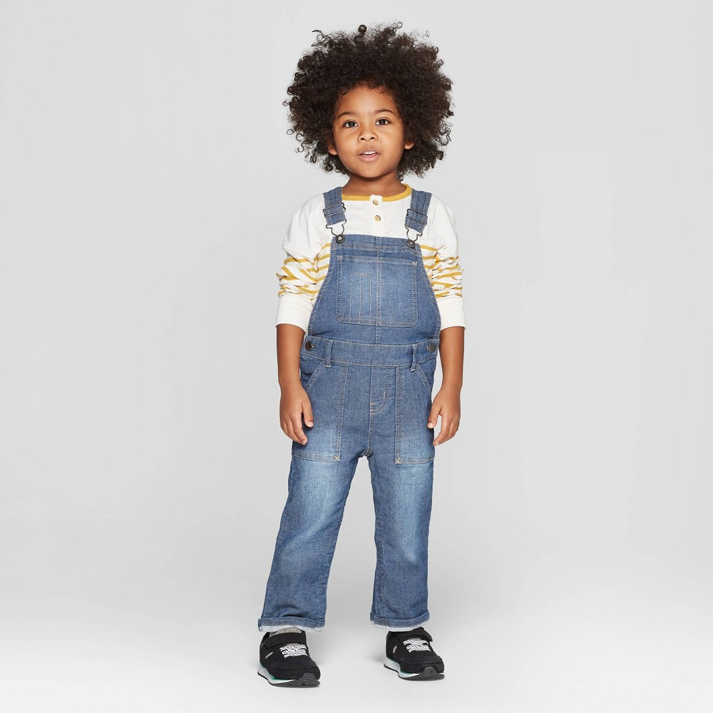346a4ea1a7b323 Genuine Kids from OshKosh Toddler Boys Knit Denim Overall Medium Blue 4T