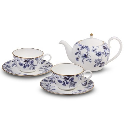 Noritake Blue Sorrentino Tea for Two Set (Tea Pot 19 oz., 2 cups, 2 saucers)