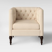 Deals on Threshold Tilton Square Tufted Arm Chair Delight Cream