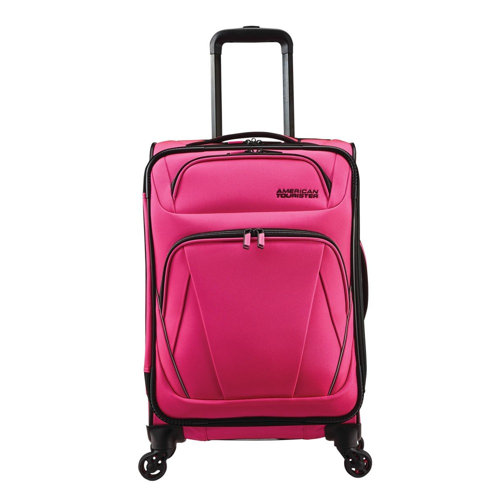 """Image of """"American Tourister 20"""""""" Superset Carry On Spinner Suitcase - Punchy Pink"""""""