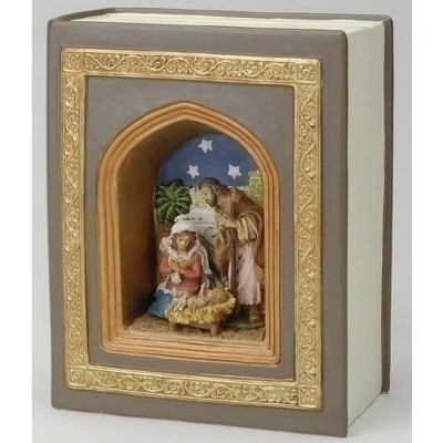 """Roman 6.25"""" Brown and Blue Holy Family Nativity Musical Book Decor"""