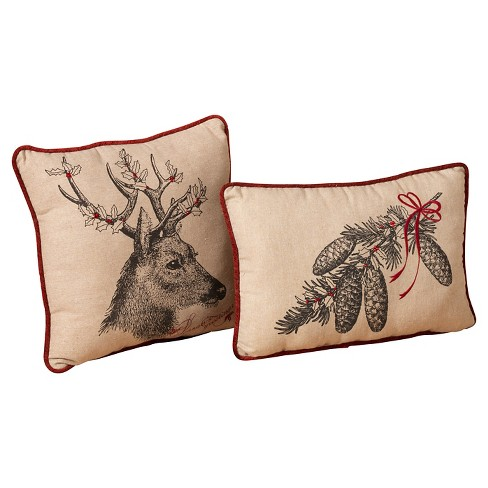 Reindeer & Pine Cone Decorative Throw Pillows - Set of 2 - image 1 of 1