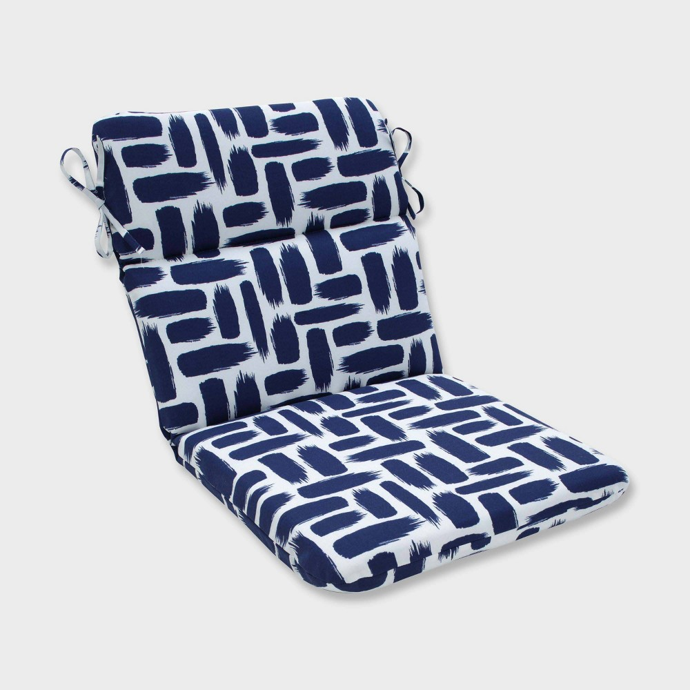 Baja Nautical Rounded Corners Outdoor Chair Cushion Blue - Pillow Perfect