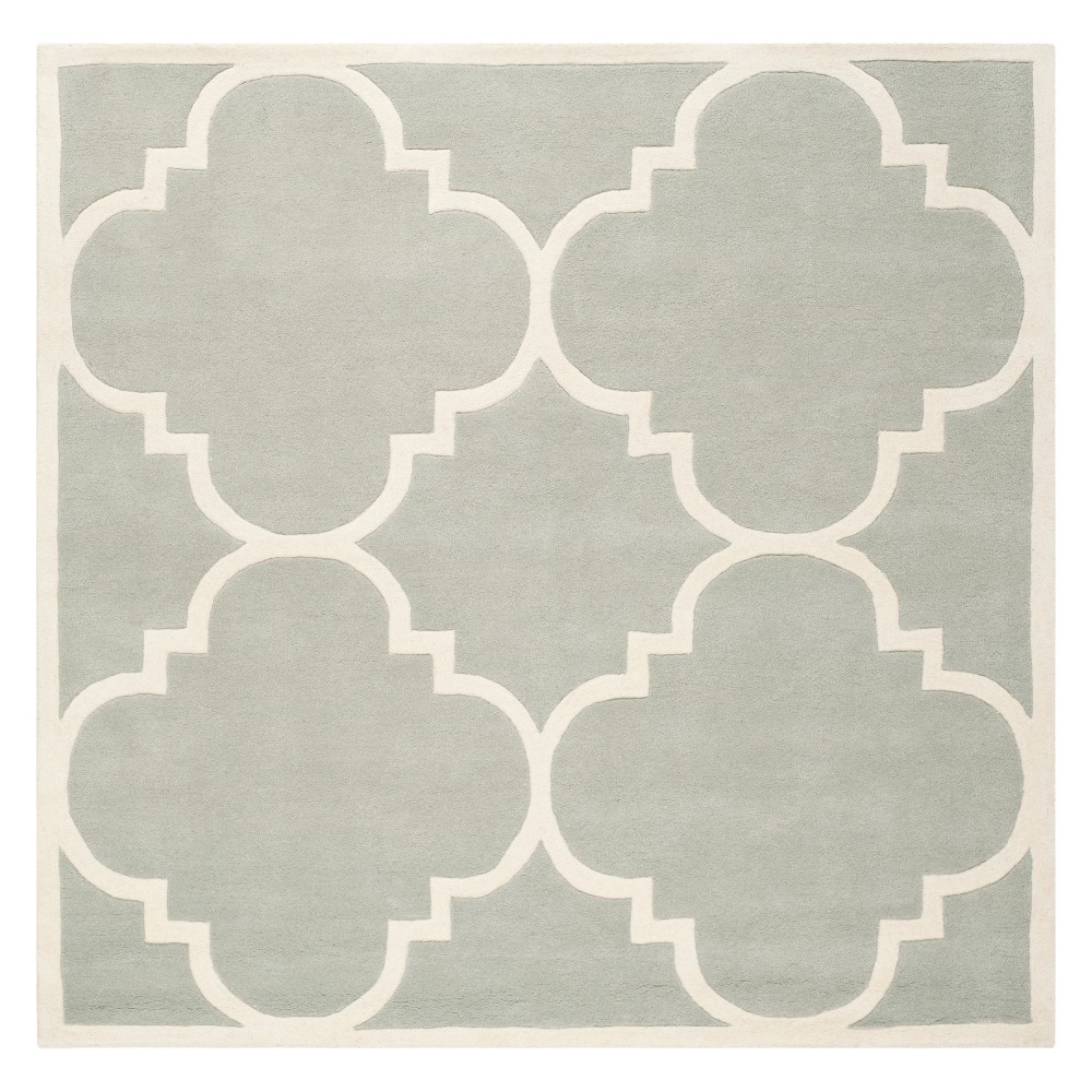 4'X4' Quatrefoil Design Tufted Square Area Rug Gray/Ivory - Safavieh