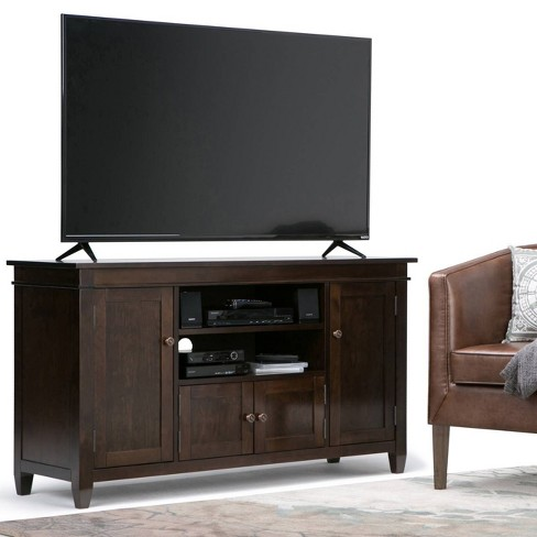 Sterling Solid Wood Tv Media Stand Tobacco Brown For Tvs Up To 60