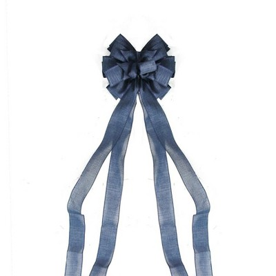 """Northlight 11"""" x 48"""" Blue Solid Denim 16 Loop Commercial Hanging Outdoor Christmas Bow Decor"""