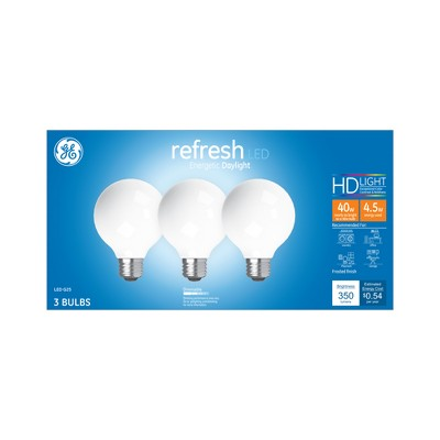 General Electric 3pk 40W Ca Refresh LED Light Bulb Dl G25 Frost