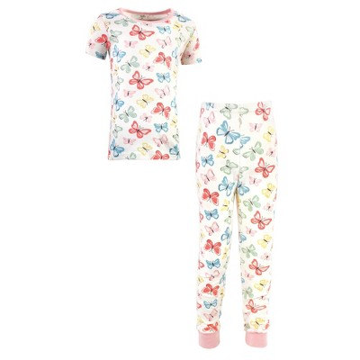 Touched by Nature Baby, Toddler and Kids Girl Organic Cotton Tight-Fit Pajama Set, Butterflies