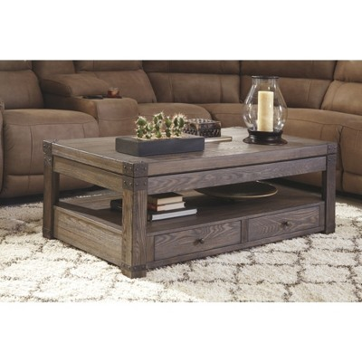 Burladen Rect Lift Top Cocktail Table Grayish Brown   Signature Design By  Ashley : Target