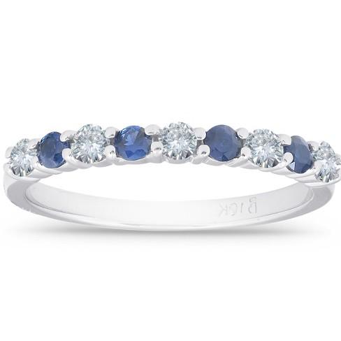 Pompeii3 1/2CT Blue Sapphire & Diamond Wedding Ring 10K White Gold - image 1 of 4