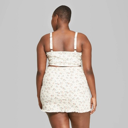 5c13ee5d8543 Women's Plus Size Floral Print Strappy V-Neck Zip-Front Denim Cropped Top - Wild  Fable™ White. Shop all Wild Fable