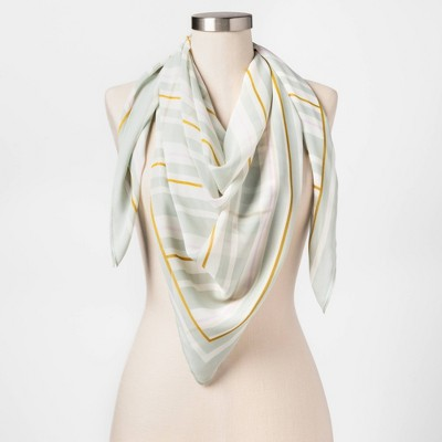Women's Striped Print Square Crepe Scarf - A New Day™ Green  One Size