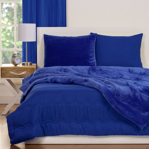 Crayola Playful Plush Blue Pleated Comforter Set Full Queen 3pc Target