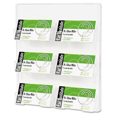 Deflecto Six-Pocket Wall Mount Business Card Holder Holds 480 2 X 3 1/2 Cards Clear 70601