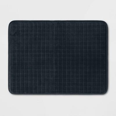 """17""""x23"""" Grid Foam Bath Rug Black - Room Essentials™"""