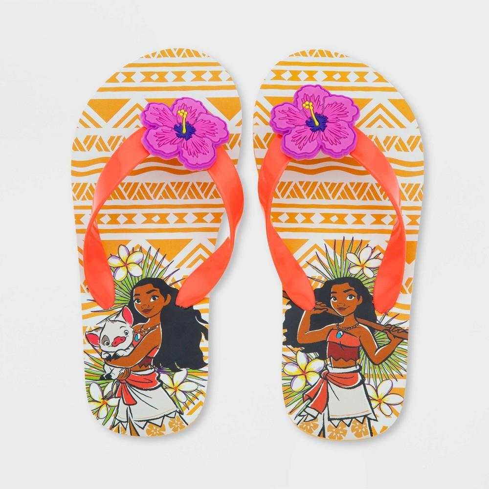 Image of Girls' Disney Moana Flip Flip Sandals - Orange 2-3, Girl's