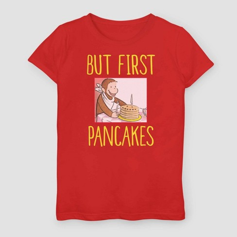 Girls' Curious George But First Pancakes T-Shirt - Red - image 1 of 2