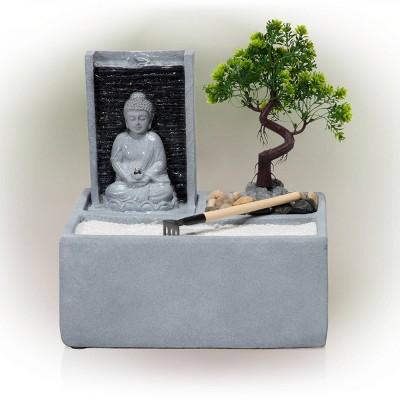 Buddha Bonsai Garden Tabletop Fountain With LED Light - Alpine Corporation