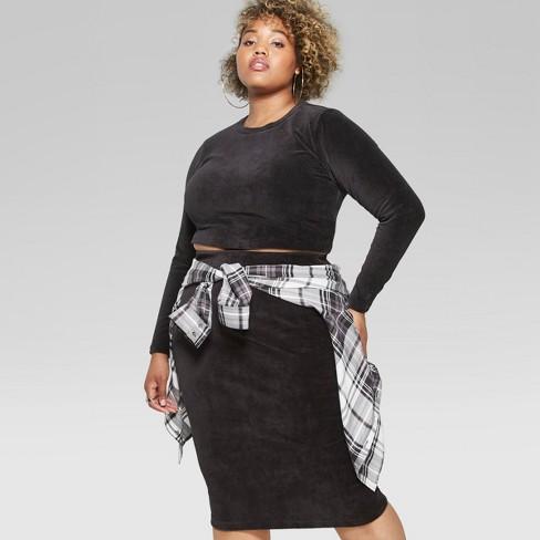 1e8d742bbf713 Women s Plus Size Long Sleeve Knit Corduroy Blouse - Wild Fable™ Black