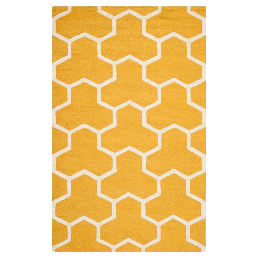 Delmont Texture Wool Rug - Gold / Ivory (5' X 8') - Safavieh, Gold/Ivory