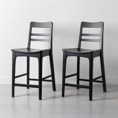 2pk Wood Ladder Back Counter Stool Black - Hearth & Hand™ with Magnolia