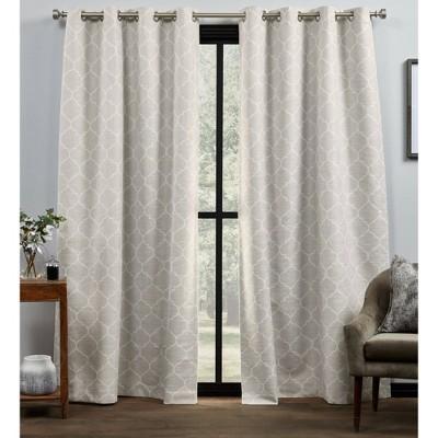 "Set of 2 84""x54"" Bensen Trellis Total Blackout Grommet Top Curtain Panel Natural/Ivory - Exclusive Home"