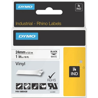 """Dymo Black on White Color Coded Label - Permanent Adhesive - 1"""" Width x 18 3/64 ft Length - Thermal Transfer - White - Vinyl"""
