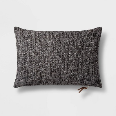 Woven Lumbar Pillow with Exposed Zipper Black - Project 62™
