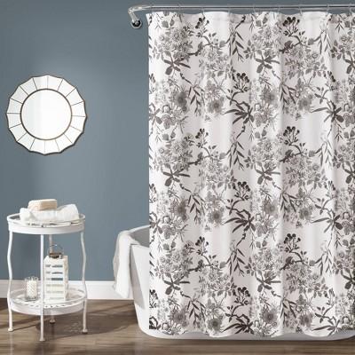 Botanical Garden Shower Curtain Gray/White - Lush Décor