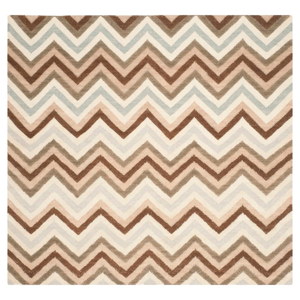 Dhurries Rug - Multi - (6'x6' Square) - Safavieh, Brown/Beige