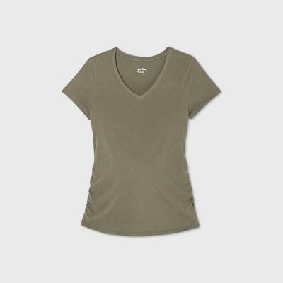 Maternity Short Sleeve V-Neck Side Shirred T-Shirt - Isabel Maternity by Ingrid & Isabel™ Olive Green L