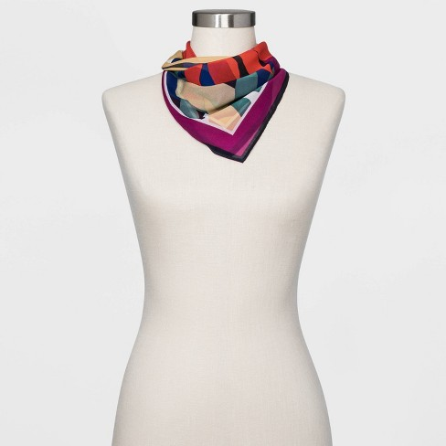 Women's Floral Print Silk Square Scarf - A New Day™ - image 1 of 3