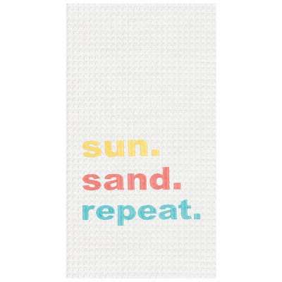 C&F Home Sun, Sand, Repeat Waffle Weave Embroidered Cotton Kitchen Towel