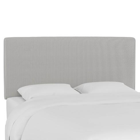 Queen Box Seam Headboard Oxford Stripe Charcoal - Skyline Furniture - image 1 of 4