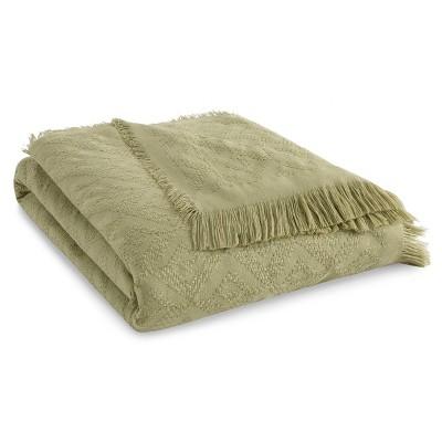 "50""x60"" Diamond Fringe Throw Blanket Green - Tommy Bahama"