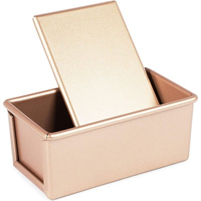 """Juvale Bread Loaf Pan with Lid for Baking, Nonstick Carbon Steel Toast Molder, Rose Gold, 7x 3.5 x 3"""""""