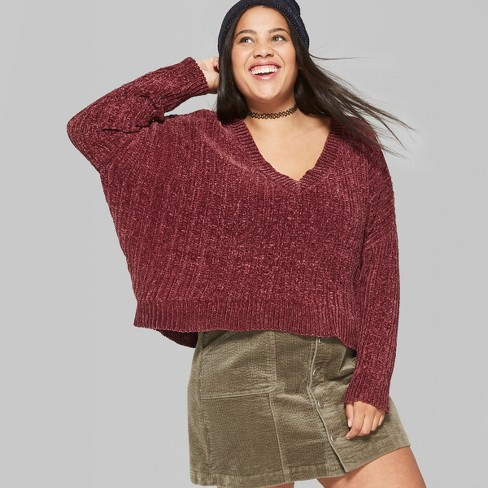 Womens Plus Size Chenille V Neck Pullover Wild Fable Windsor