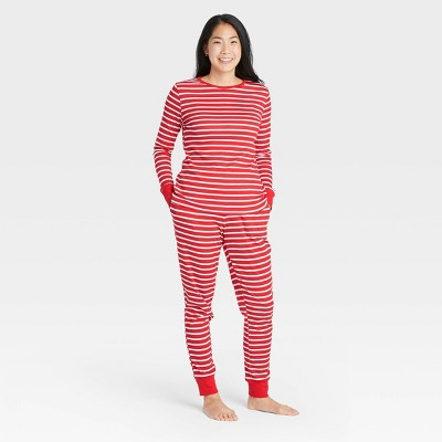 Women's Striped 100% Cotton Matching Family Pajama Set - Red