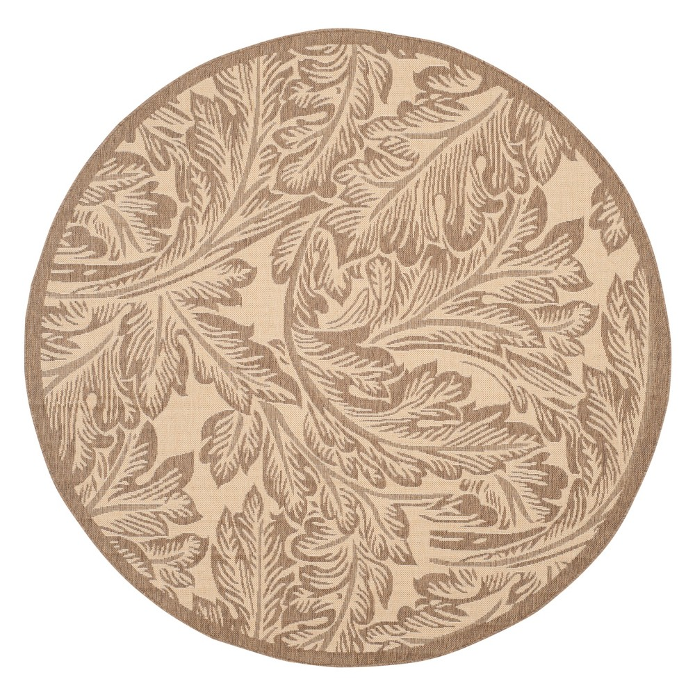 Leon Round 6'7 Outer Patio Rug - Natural / Brown - Safavieh, Natural/Brown