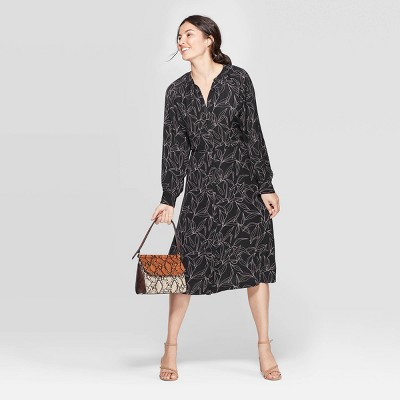 Women's Leaf Print Long Sleeve Midi Shirtdress   A New Day™ Black by A New Day